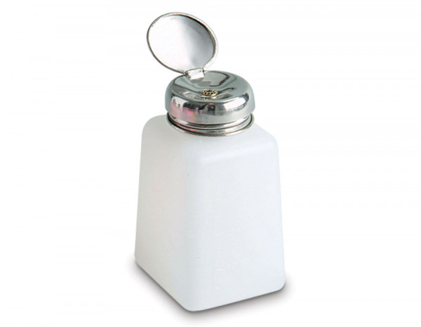 Pump bottle with metal lid, translucent white