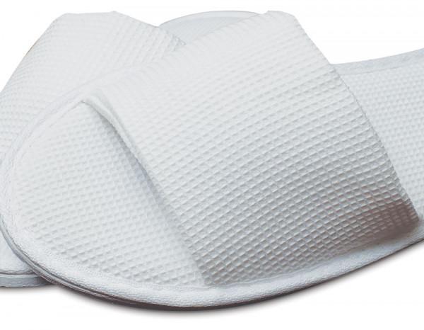 Open toe waffle slipper one size, white