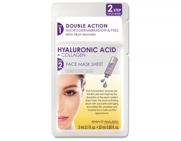 Skin Republic 2 step hyaluronic acid collagen mask