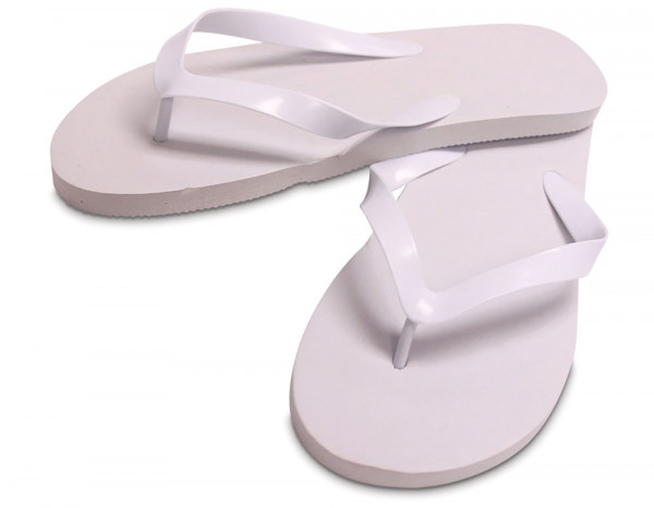 Flip flops rubber white, medium (5-6)