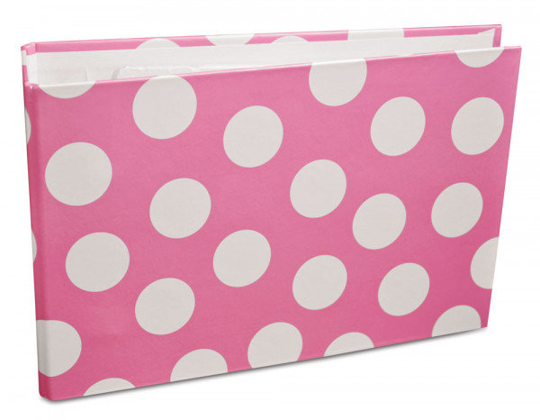 Record cards binder, pink polka dot