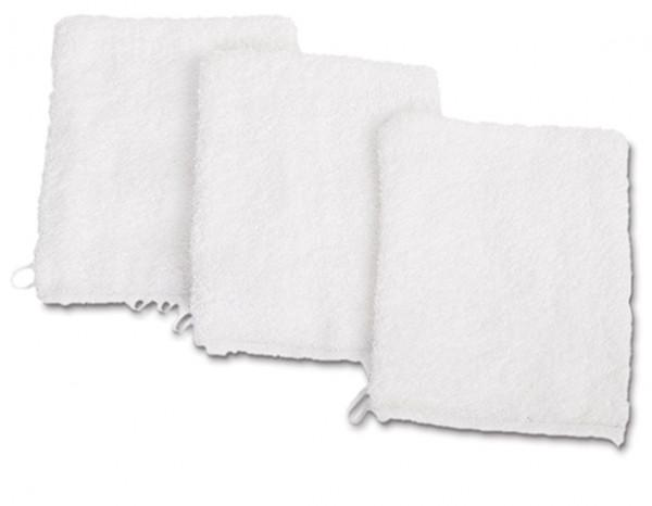 Facial towelling wash mitt, white