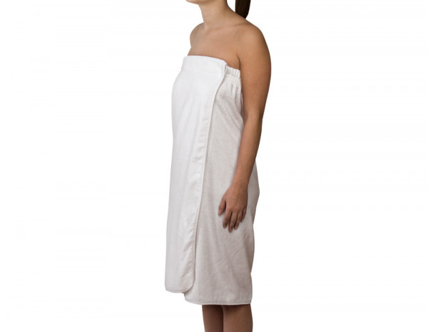Towelling wrap tube gown, white