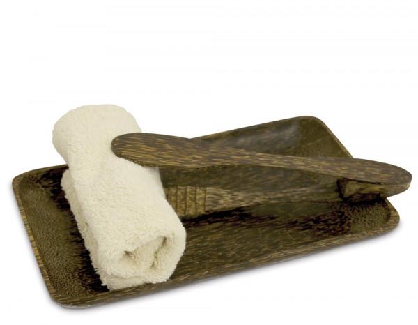 Towel tray and tong set