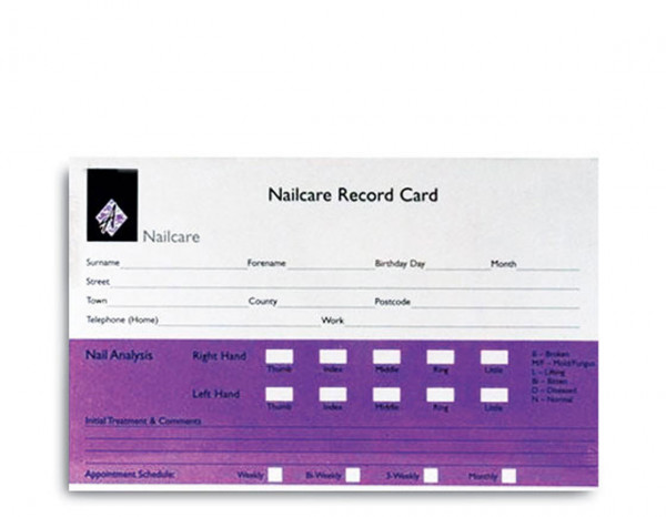 Agenda record cards, nails (100)