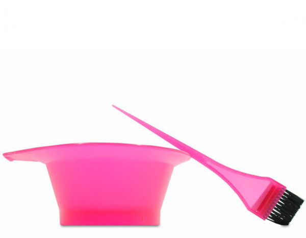 Comby tint bowl and brush, neon pink