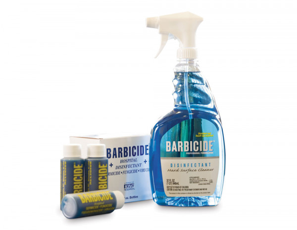 Barbicide spray bottle and concentrate bullets (6)