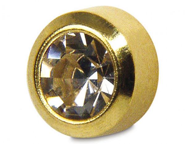 Studex gold plated March birthstone regular bezel