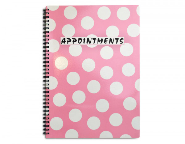 Appointment book 4 column, pink polka dot