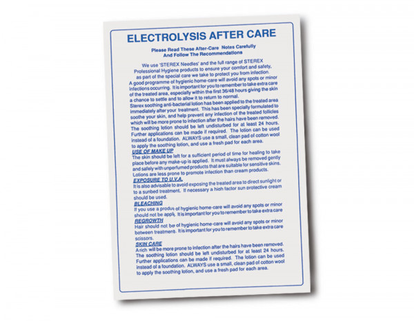 Electrolysis aftercare notes pad (100 sheets)