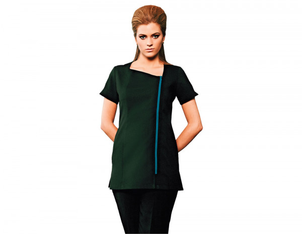 Feature tunic black with teal zip, size 6