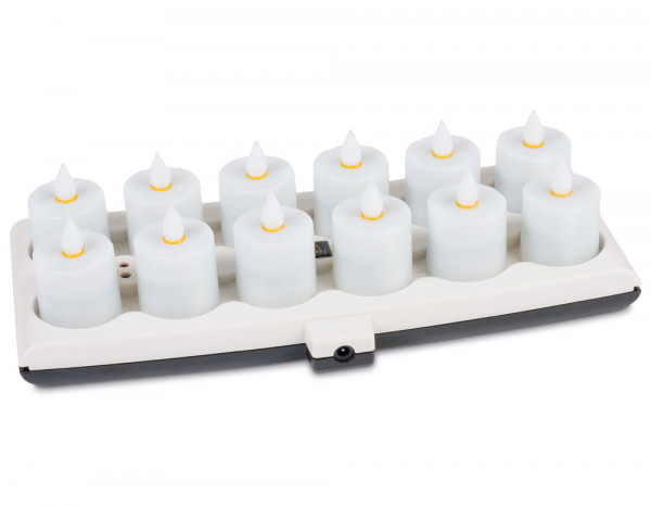 Rechargeable candles set, amber (12)