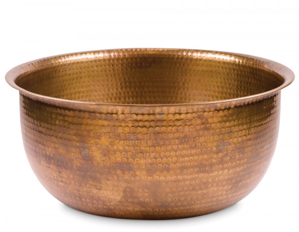 Pedicure bowl round hammered copper