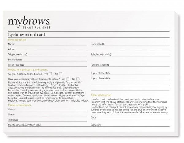Mybrows record cards (50)