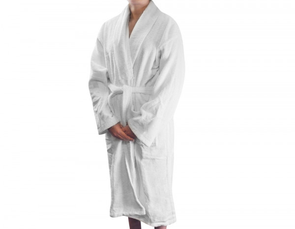 Towelling shawl collar robe, white