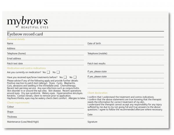 Mybrows record cards (50)