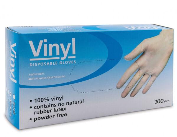 Vinyl gloves powder free clear, medium (100)
