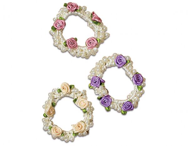 Pearl bead and rosebud scrunchie