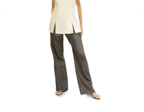Bootleg trousers linen look, brown size 12