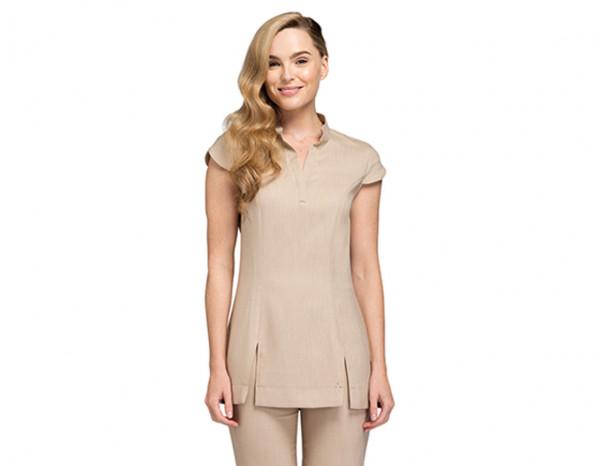 Narrow leg trousers linen look, beige size 18