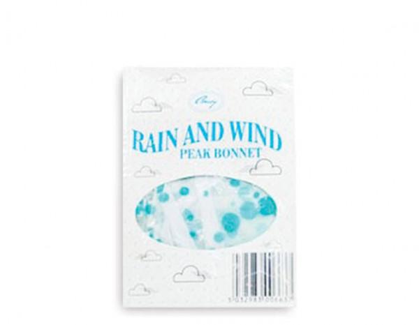 Rain bonnet peaked, polka dot