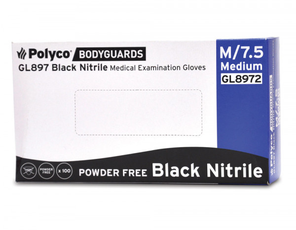 Nitrile gloves powder free black, medium