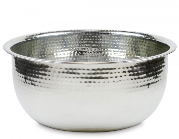Pedicure bowl round hammered stainless steel