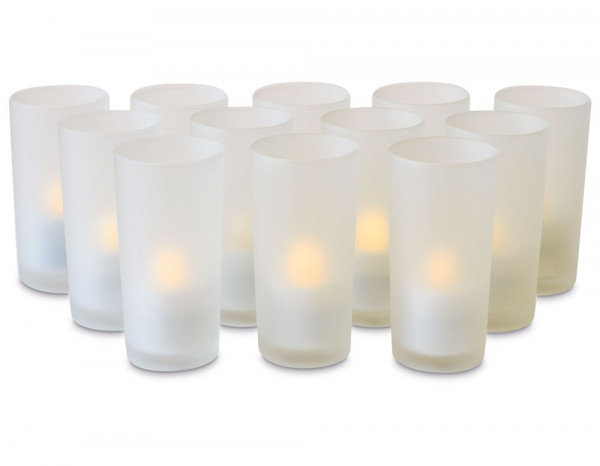 Rechargeable candles with frosted holders (12)