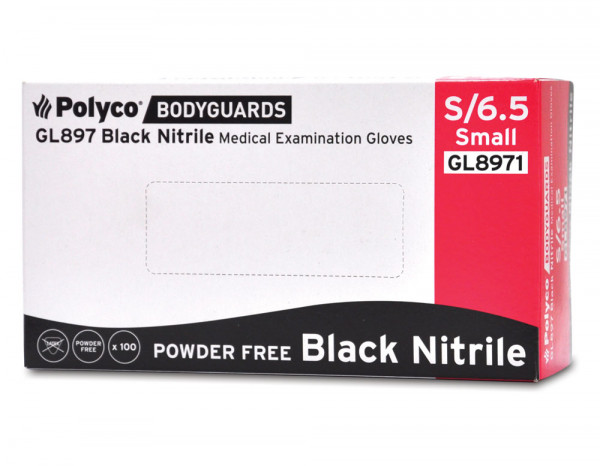 Nitrile gloves powder free black, small