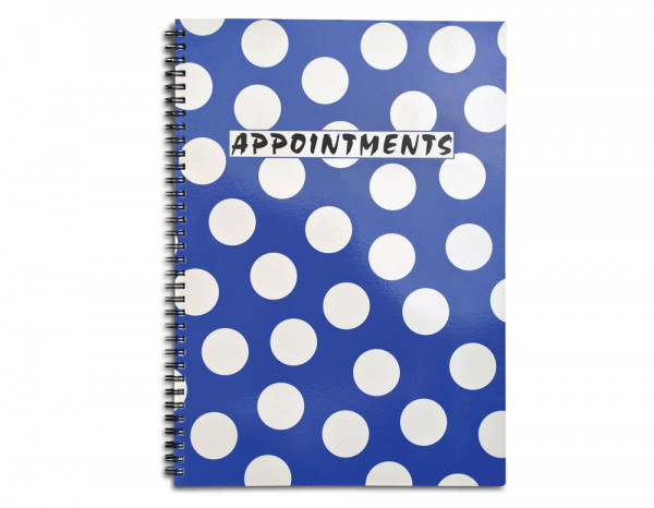 Appointment book 4 column, blue polka dot