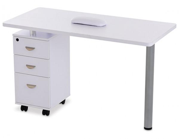 Esthetix pedestal nail station, white wood