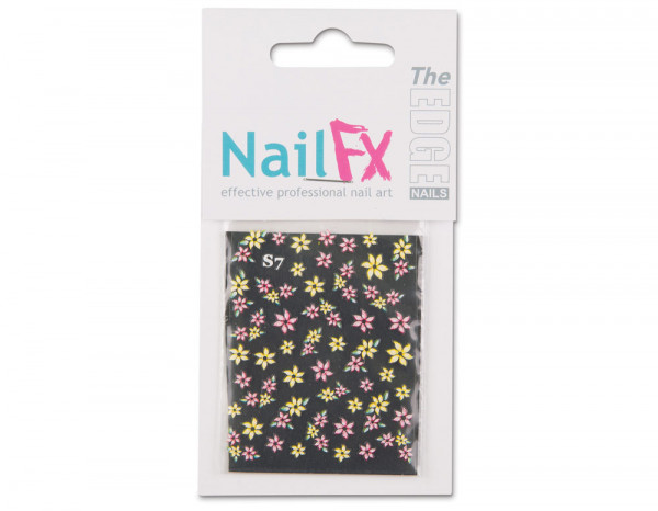 The Edge 3D nail art stickers, pink/yellow flowers
