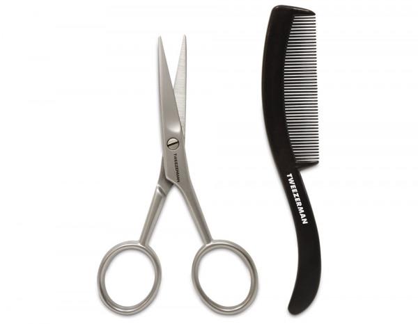 Tweezerman moustache scissors and comb