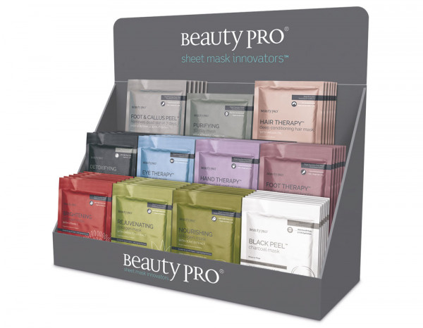 BeautyPro standard retail display stand, stocked