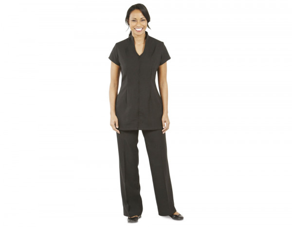 Central front zip tunic, black size 26