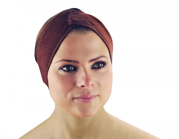 Towelling headband, brown